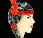 LEA STEIN PARIS RED GRAY INDIAN MAIDEN NATIVE AMERICAN GIRL BROOCH PIN FRANCE