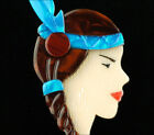 LEA STEIN PARIS BLUE BROWN INDIAN MAIDEN NATIVE AMERICAN GIRL BROOCH PIN FRANCE