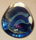 Eickholt PAPERWEIGHT Art Glass iridescent Egg Dichroic Vintage Signed 1997