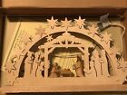German Lighted Wooden Nativity Made By Ratags Holzdesign Doppelschwibbogen