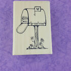DJ Inkers Love Mail Box Rubber Stamp 1993 Heart Flowers