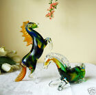 Pair Rearing  Reclining Horses Murano Art Glass Artistic Figurine Italy Made