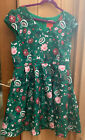 Modcloth Green Floral Dress Small Pleated Satin Cap Sleeves Holiday Party