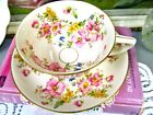 WARWICK tea cup and saucer USA flower painted Blossom teacup 1950s