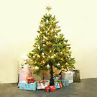 6Ft Pre Lit PVC Hinged Artificial Christmas Tree w 100 LED Lights In Outdoor