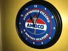 Amoco Oil Gas Station AuthService Garage Man Cave Advertising Wall Clock Sign