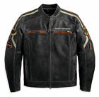 MENS BIKER DISTRESSED BLACK HARLEY DAVIDSON MOTORCYCLE REAL COW LEATHER JACKET