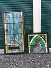Antique Very Large 2 Piece Church Leaded Stain Glass Window 34 X 103 Nice