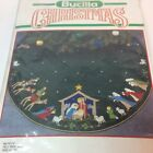 Vtg Bucilla 43 Christmas Nativity Green Felt Tree Skirt Kit 82623 Sealed RARE