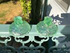 Fenton Willow Green Waterlily Candle Sticks