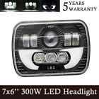 5X7 300W LED Headlight Hi Lo Beam Halo DRL Light For Jeep XJ YJ Toyata Pickup