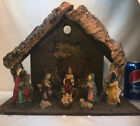 Vtg 10pc Wood Nativity Manger Crche Baby Jesus Mary Joseph Wisemen Shepherd Cow