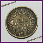 BRITISH INDIA 1 2 PICE ANCIENT COIN GEORGE V KING EMPEROR HIGH QUALITY