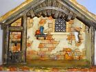 RARE FONTANINI RESIN NATIVITY STABLE FOR 5 FIGURES BEAUTIFULLY PAINTED W BOX