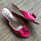 Kate Spade Womens Pink Patent Bow Detail Wedge Sandals Slides sz 8.5 M