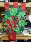 Winter Holly  Berry Wreath  Red Ribbon Decorative House Flag 28 x 40