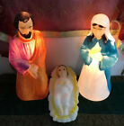 Vintage Christmas Empire Nativity Blow Mold Set Mary Joseph Baby Jesus 17 Inches