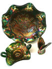 Fenton Glass Emerald Green Marigold Carnival 3 Pce Set Limited Edition