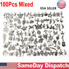 Wholesale 100Pcs Lots Jewelry Making Silver Charms Mixed Smooth Tibetan DIY USA