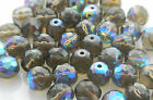 600 Pcs 10mm Czech Fire Polished Faceted Glass Beads  BLACK DIAM AB