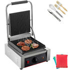 Commercial Sandwich Press Grill Griddle Panini Maker Grooved Steak NonStick1800W