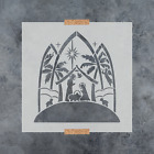 Stained Glass Nativity Stencil Durable  Reusable Mylar Stencils