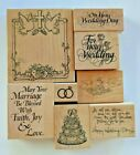 Wedding Day Marriage Wooden Rubber Stamps Lot of 8