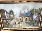 Large Paris Street Oil On Canvas Painting Framed Signed Hill