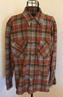 Pendleton Vintage Plaid Flannel Wool Board Shirt Sz Large Orange Brown