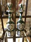Pair of Moser Green Glass Decanters 19th Century Czech Bohemian Hand Painted