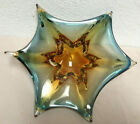 Vintage Murano Glass Dish Star Bowl Mid Century Sommerso Blue  Gold Color