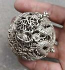 tibet silver plated carved hollow out dragon hand old the crick cage ball