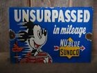 OLD VINTAGE SUNOCO NU-BLUE GASOLINE PORCELAIN GAS PUMP SIGN MICKEY MOUSE