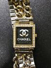 Gold Tone Rectangular Watch Stones In Bezel Women's Fashion homage to Chanel