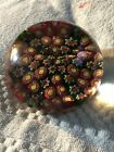 Vintage Fratelli Used Art Glass Floating Canes Millefiori Paperweight