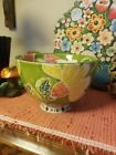 Gorgeous Anthropologie Deep Footed Boho Style Floral Bowl Green Yellow Red Pink