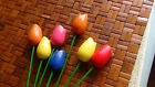 Tulips Hand Crafted Bouquet Wooden Flowers Decorative Long Stem 7 pcs