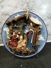 Vintage Lighted Nativity Plate w Easel Christmas Around the World Used Tested