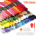 Rainbow Color Embroidery Thread Cross Stitch Floss Cotton Line Bobbin Needle Kit