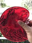 Vintage MURANO Art GLASS Red Controlled BUBBLES Candy DISH Bowl TRAY