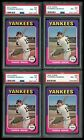 Group of (5) 1975 Topps Thurman Munson Baseball Cards All PSA 8 NM-MT