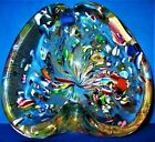 Vintage Heart Shaped Murano Glass MultiColor Gold Flecked Art Glass Bowl Marked