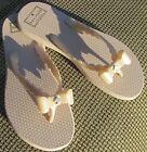 NWOB Kate Spade New York thong sandals, cream with bows, Size 9-10.