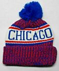 NAME ON BOTH SIDES! Chicago Cubs Team Colors On City Pom Beanie Knit Cap Hat