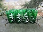 8 x Vintage Mid Century Drinking Glasses with Carrier- Green- Flowers ~4.75