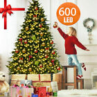5 6 7ft Christmas Tree Artificial Deluxe 600 LED Warm White Light Decor W Stand