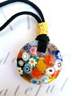 Traditional Murano Glass Millefiori Flower Pendant Necklace