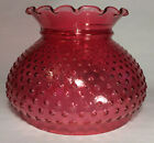 New 7 Cranberry Glass Hobnail Student Lamp Shade Crimped Top USA Made 7S450