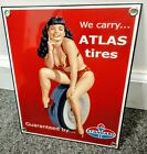 Atlas Tires Amoco Gas Oil Gasoline Garage Pinup Girl Sign