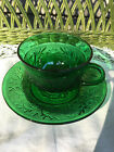 Anchor Hocking Forest Green Sandwich Cup and Saucer Set